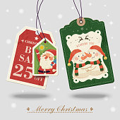lovely Christmas shopping tag isolated on grey background