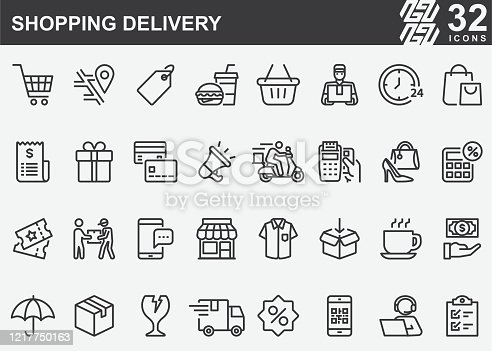 Shopping Delivery Line Icons
