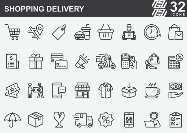 ilustrações de stock, clip art, desenhos animados e ícones de shopping delivery line icons - covid restaurant