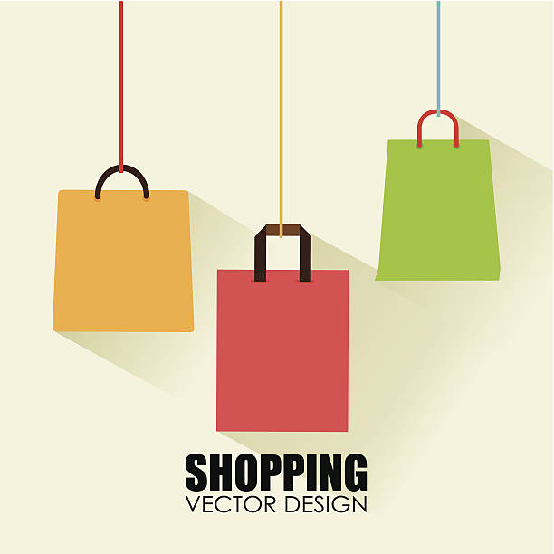 shopping design - shopping bags stock illustrations