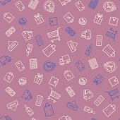 Shopping discount sale seamless pattern vector illustration