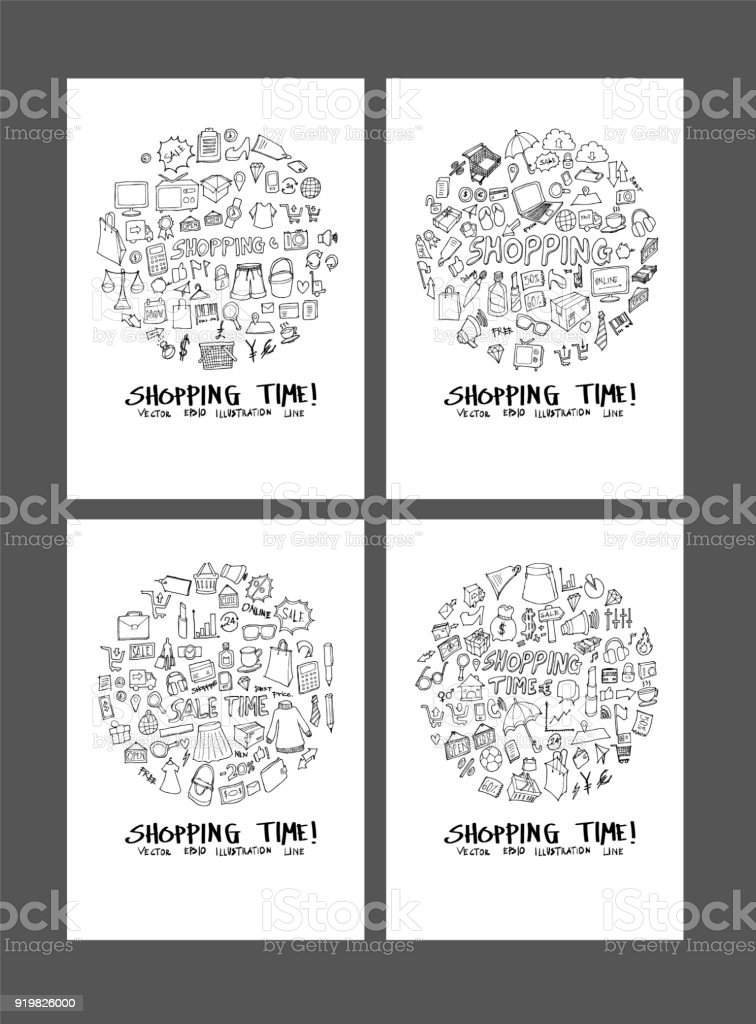 Shopping doodle illustration circle form on a4 paper wallpaper background line sketch style set eps10