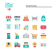 Shopping, e-commerce, delivery and more, thin line icons set