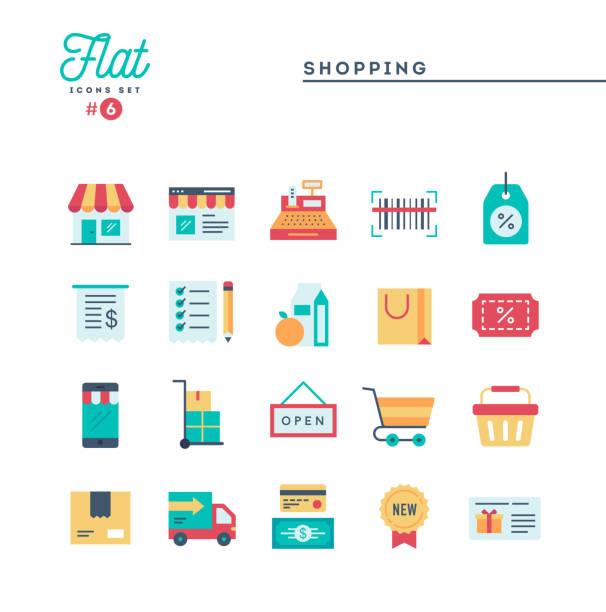 illustrazioni stock, clip art, cartoni animati e icone di tendenza di shopping, e-commerce, delivery and more, thin line icons set - icona supermercato