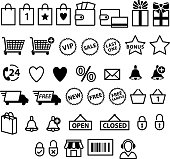 Shopping e-commerce icons set.