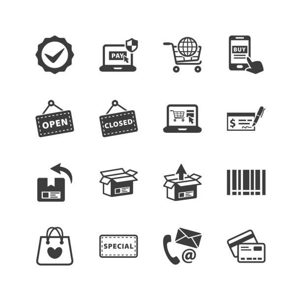 Shopping & E-commerce Icons Shopping & E-commerce Icons - Set 3 open sign stock illustrations