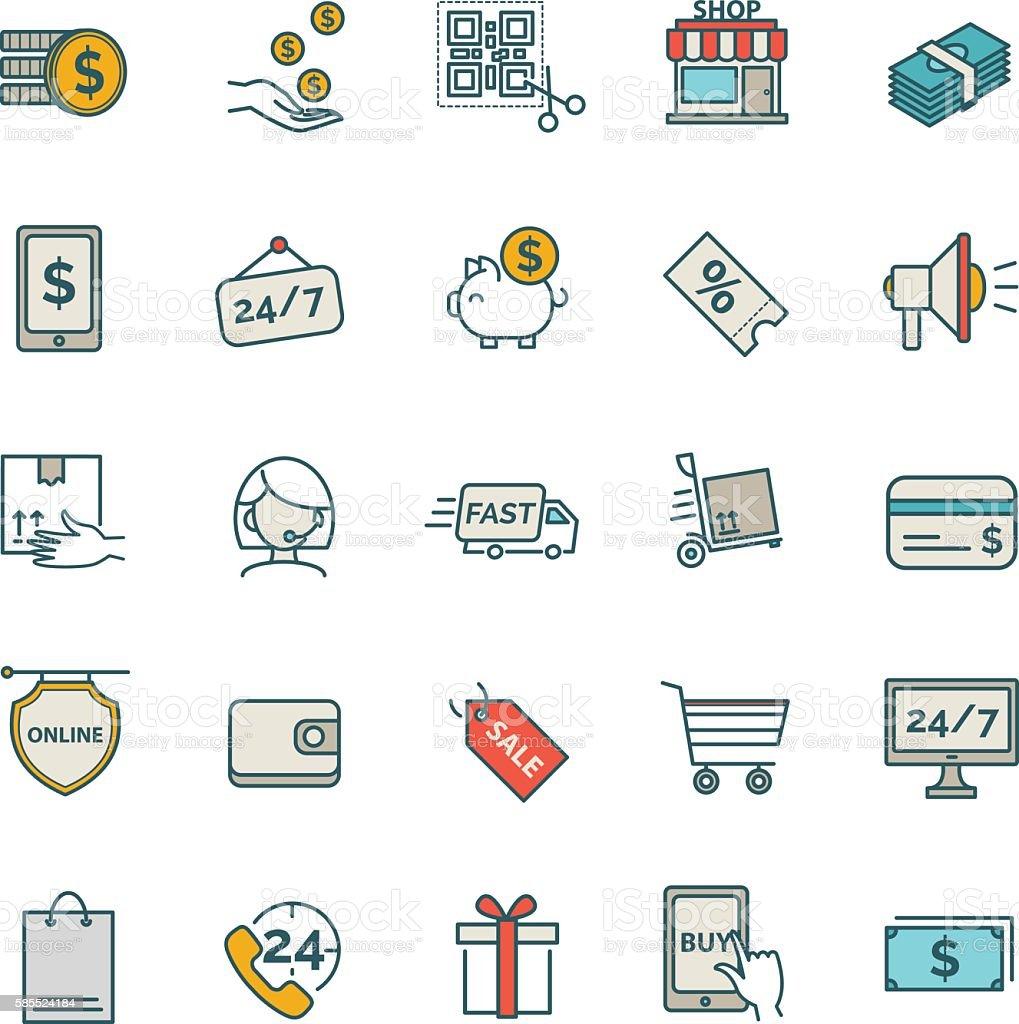 Shopping, E-commerce icons.set vector art illustration