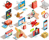 Online shopping isometric shadow icons collection with grocery travel books and clothing  ecommerce stores orders isolated vector illustration