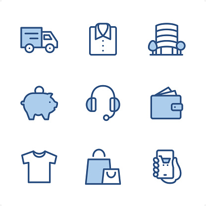 Shopping & E-commerce - Pixel Perfect Blue icons