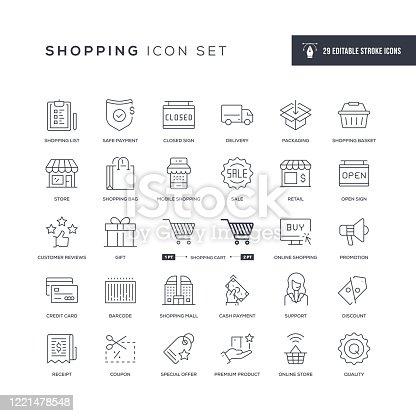 Shopping Editable Stroke Line Icons