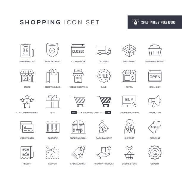 ikony linii udaru wyedytowalne zakupy - handel detaliczny stock illustrations