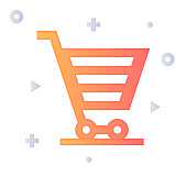 Shopping experience design with gradient fill painted by path of the icon. Papercut style graphic can also be used as simple vector template for silhouette illustrations.
