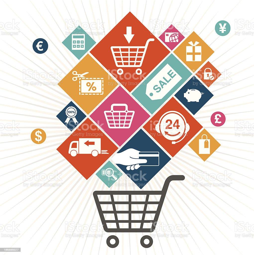 Shopping Experience vector art illustration