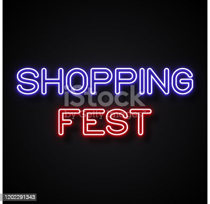 istock Shopping Fest text Neon Style, Design Elements 1202291343