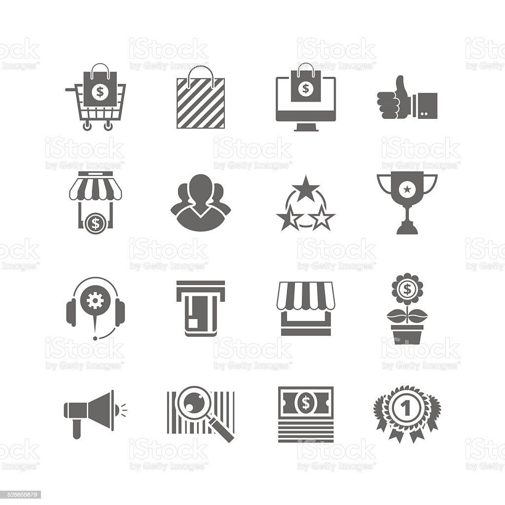 Shopping flat black icons set sihlouette. vector art illustration