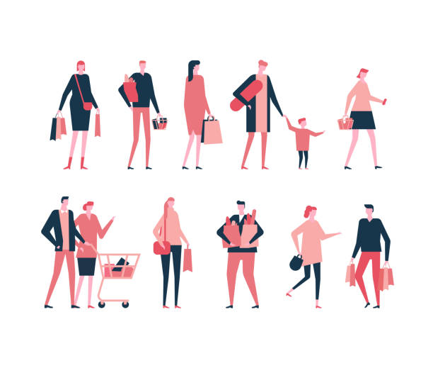 shopping - flat design style set of isolated characters - womens fashion stock illustrations, clip art, cartoons, & icons