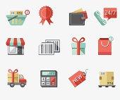 Shopping flat icon set
