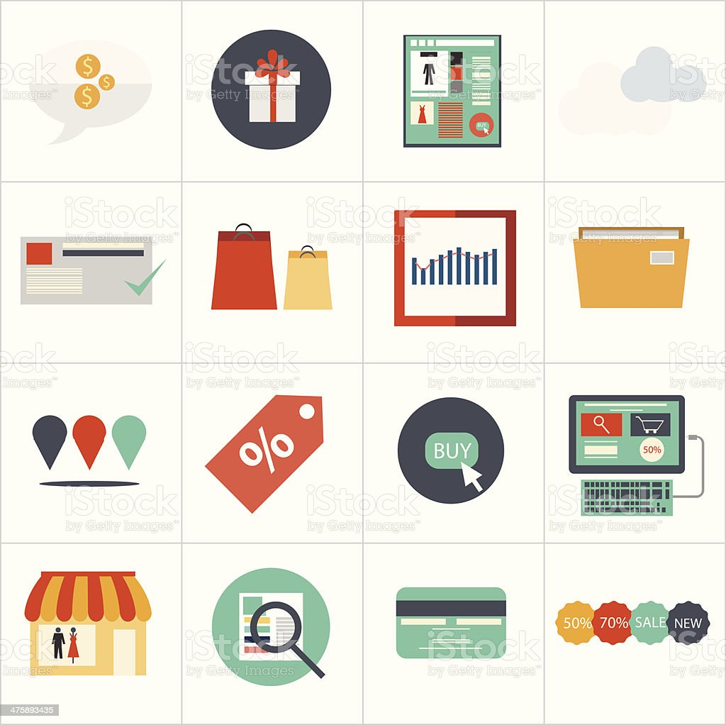 Shopping flat icon set vector art illustration