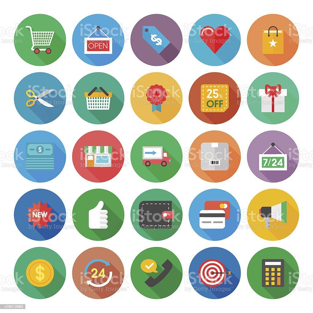 Einkaufen flache Symbol Lizenzfreies einkaufen flache symbol stock vektor art und mehr bilder von 24 hrs - englischer satz