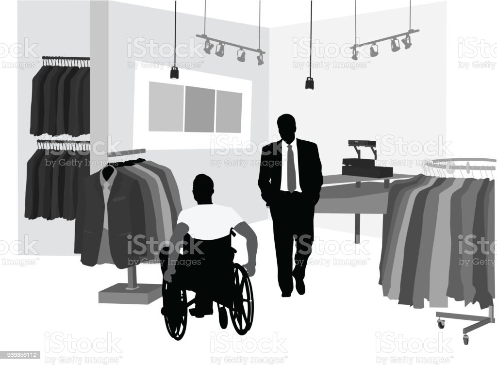 Shopping For A Suit vector art illustration