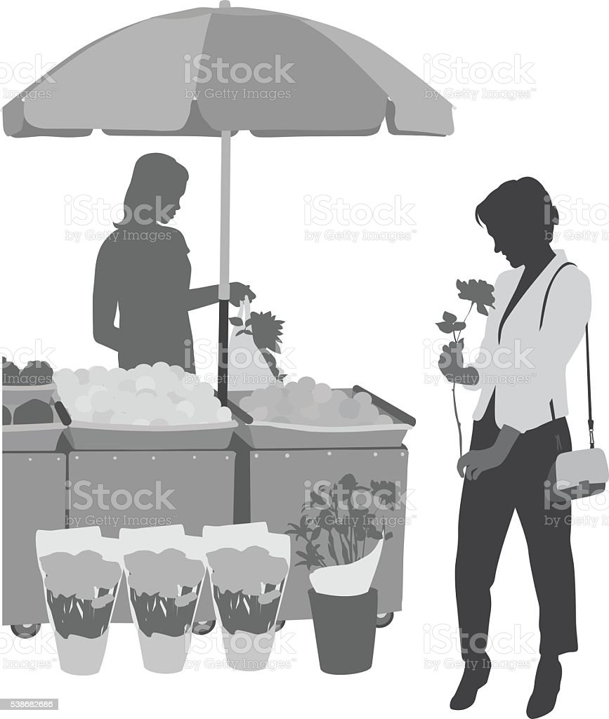 Shopping For Flowers vector art illustration