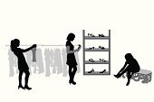 Shopping For Shoes Vector Silhouette