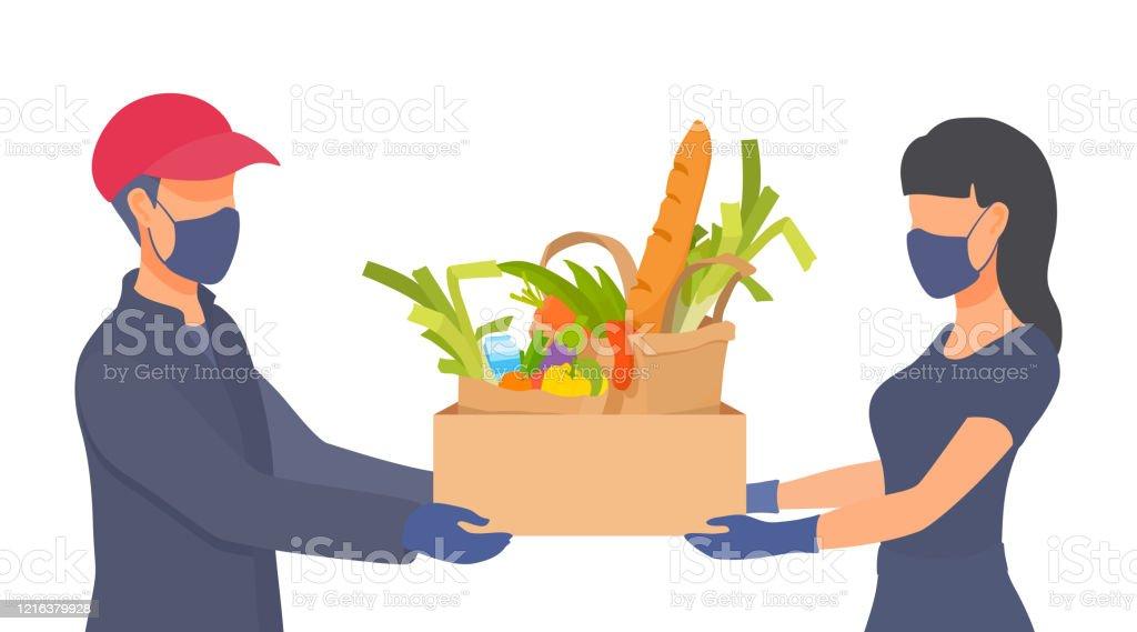 從家庭隔離中購買新鮮餐點。人們戴口罩,戴手套。冠狀病毒條件下的防護措施。 - 免版稅2019冠狀病毒病圖庫向量圖形