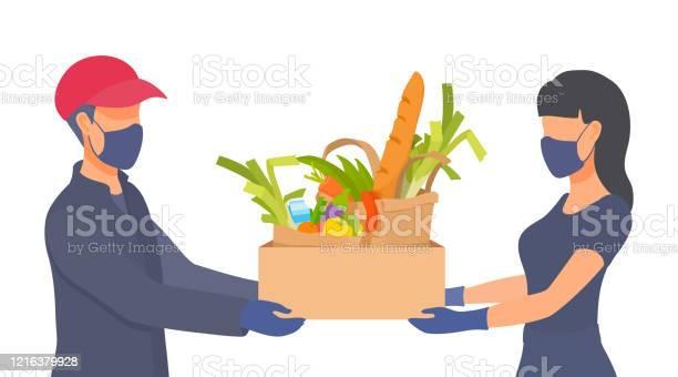 從家庭隔離中購買新鮮餐點人們戴口罩戴手套冠狀病毒條件下的防護措施向量圖形及更多2019冠狀病毒病圖片