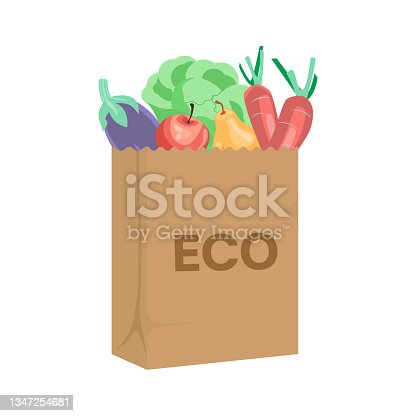 istock Shopping full of food ECO bag front view 1347254681