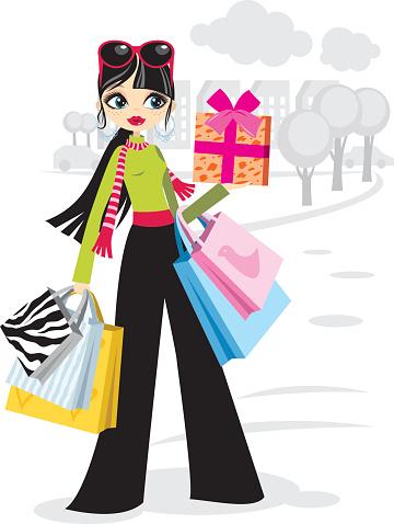 Shopping girl in black pants
