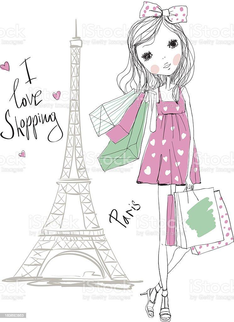 Shopping girl in Paris royalty-free stock vector art