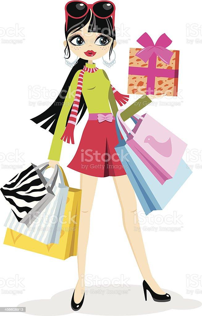 Shopping girl pink skirt royalty-free stock vector art