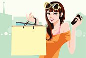 Vector File of Pretty Girl Holding Shopping Bag and Cell Phone