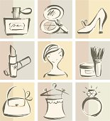 Hand-drawn style fashion & cosmetics icon set. Zip contains AI and PDF format.