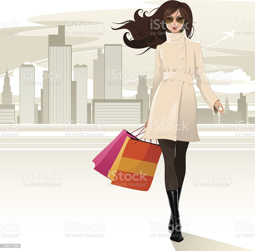 Shopping girl vector art illustration
