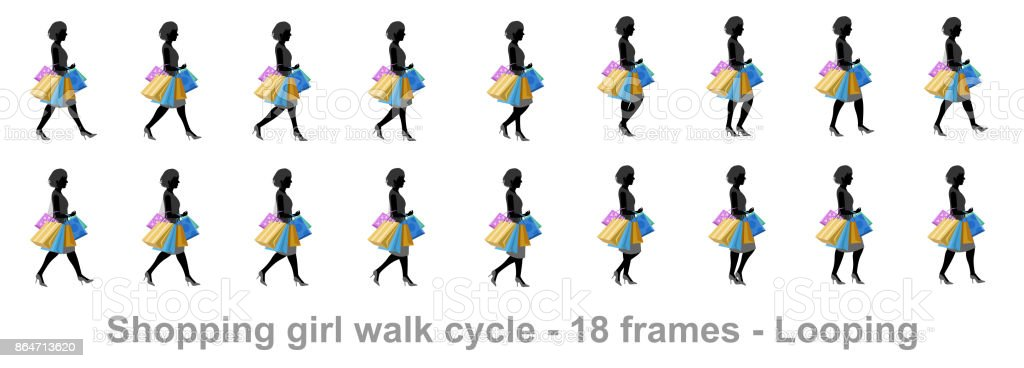 Shopping Girl Walk Cycle Stock Illustration Download Image Now Istock