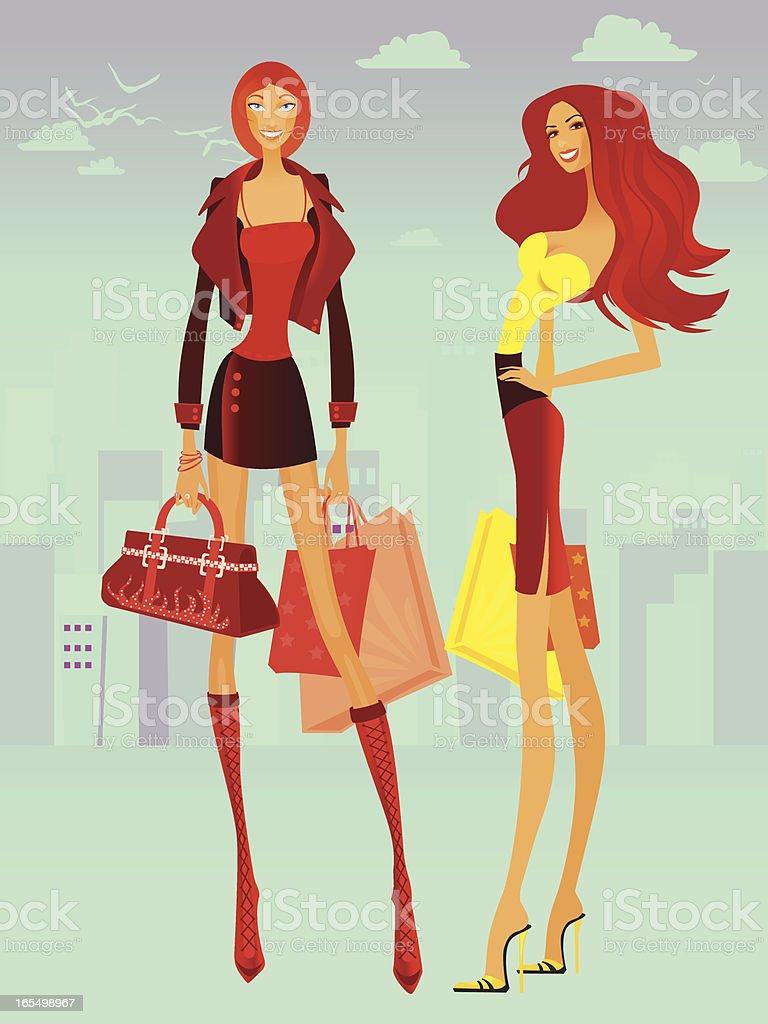 Shopping girls royalty-free stock vector art
