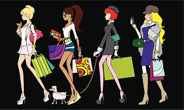 шоппинг девочки - four seasons stock illustrations