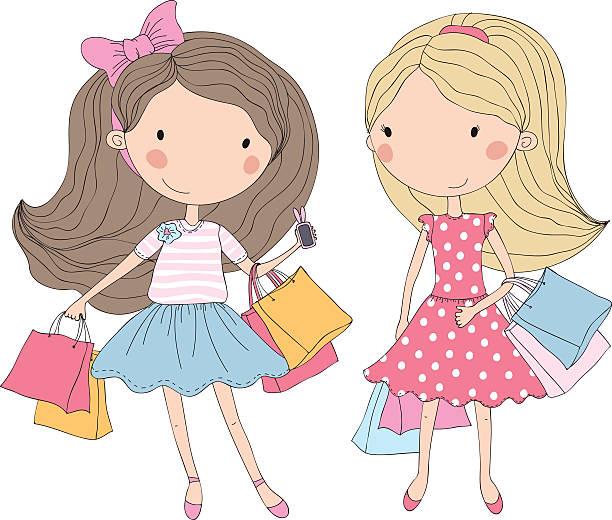 Chicas de compras - ilustración de arte vectorial