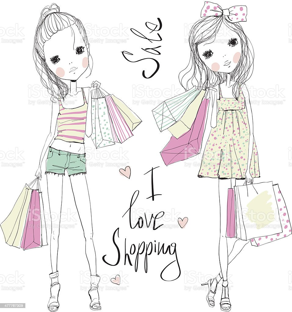 shopping girls royalty-free shopping girls stock vector art & more images of adult