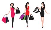 Three shopping girls silhouettes in vector