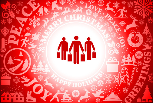 Shopping Group  Red Christmas Holiday Background