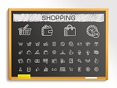 Shopping hand drawing line icons. Vector doodle pictogram set: chalk sketch sign illustration on blackboard with hatch symbols: credit, purchase, service, card, calculator, internet, bank, terminal