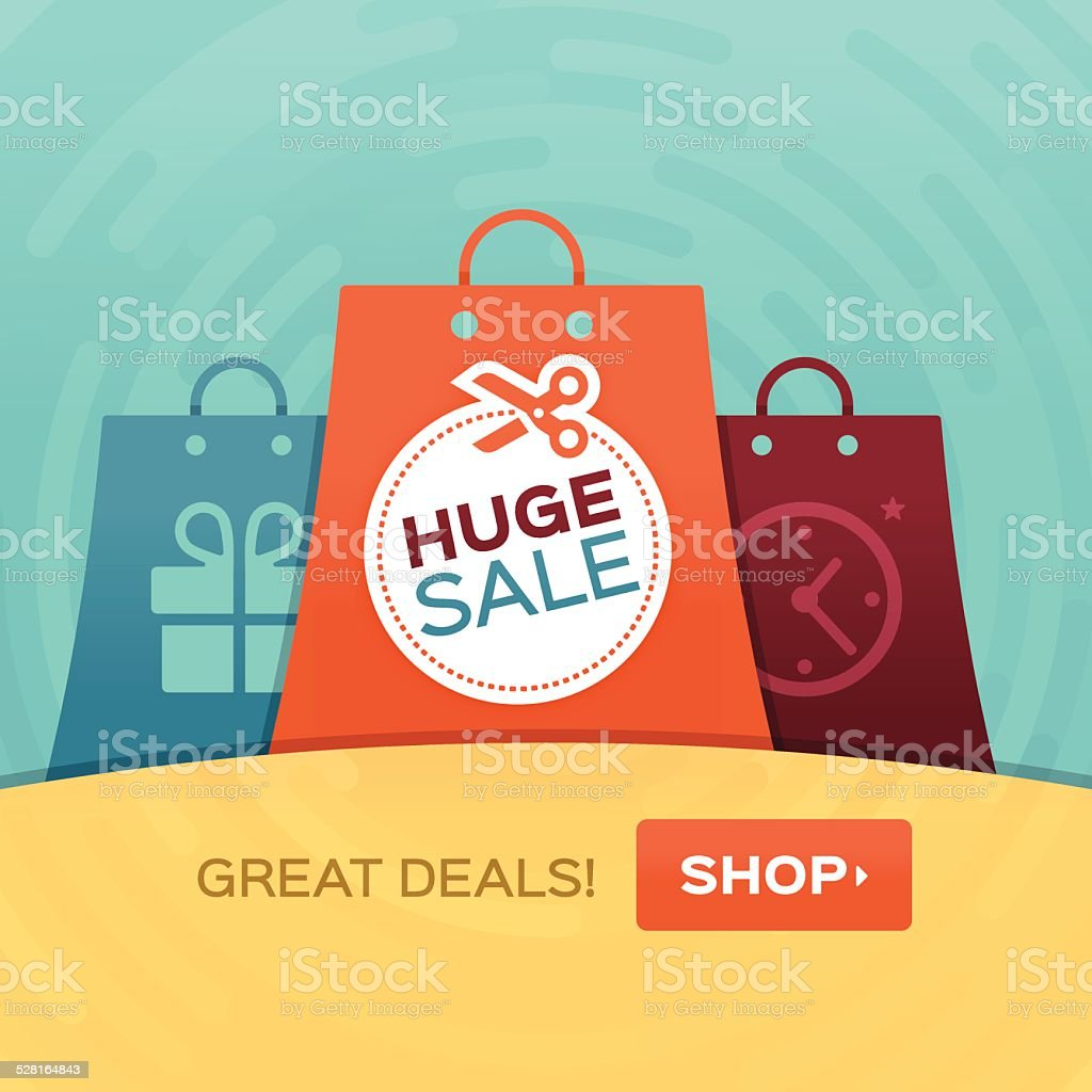 Shopping Huge Sale vector art illustration