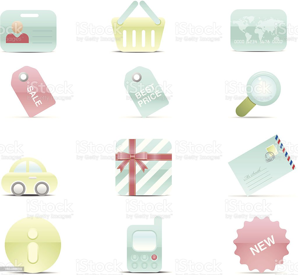 Shopping Icon Set. Gel series royalty-free stock vector art