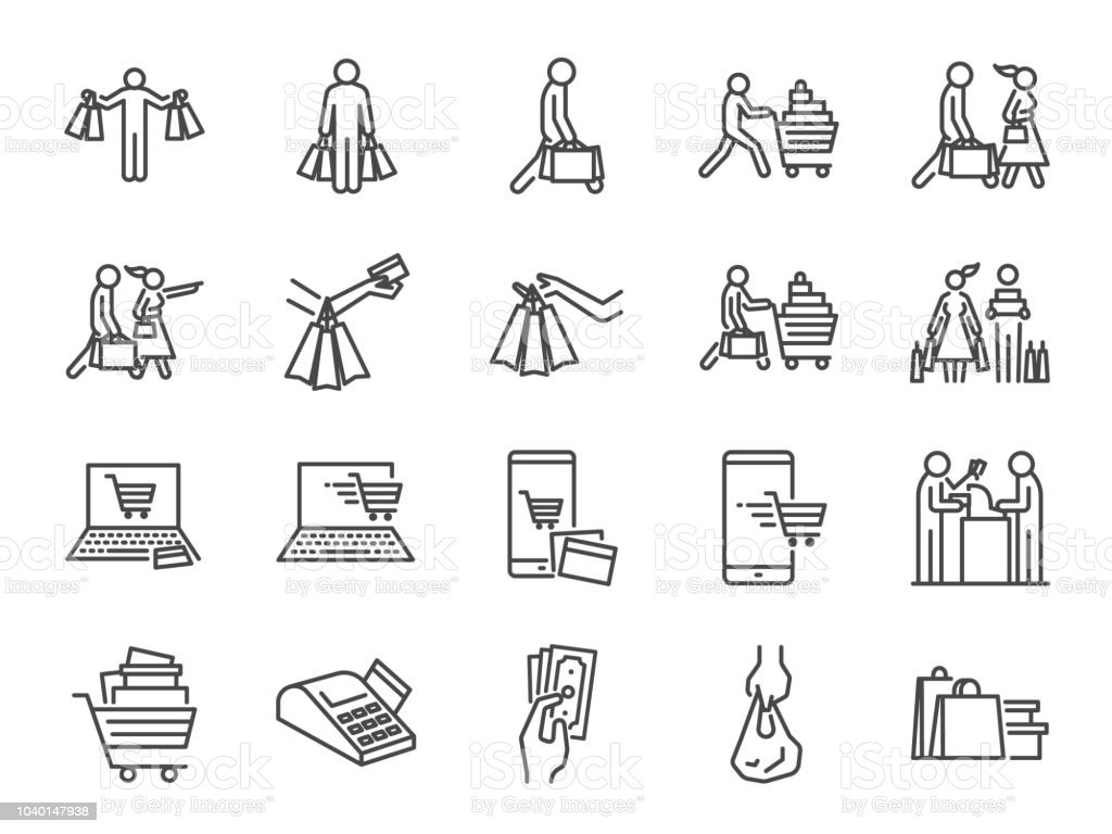 Shopping icon set. Included icons as buy, shopaholic, handful bags, cart, shop and more. - Royalty-free A usar um telefone arte vetorial