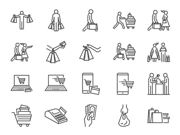 Shopping icon set. Included icons as buy, shopaholic, handful bags, cart, shop and more. Shopping icon set. Included icons as buy, shopaholic, handful bags, cart, shop and more. online shopping stock illustrations