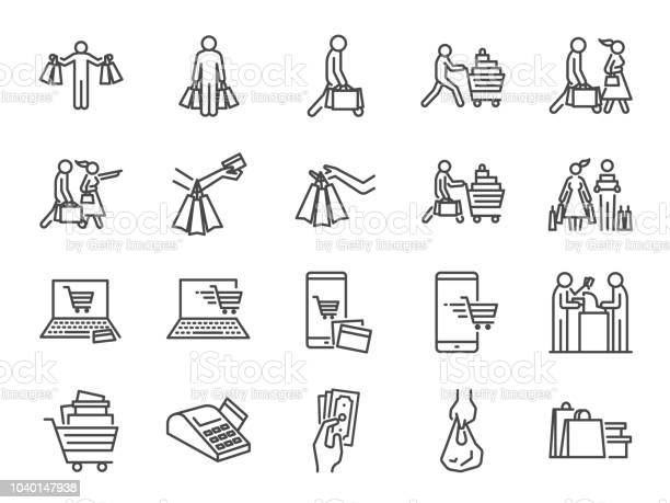 Shopping Icon Set Included Icons As Buy Shopaholic Handful Bags Cart Shop And More - Arte vetorial de stock e mais imagens de A usar um telefone