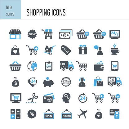 Shopping Icon Set - Stockowe grafiki wektorowe i więcej obrazów Bezpłatny