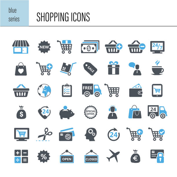 shopping icon set - shopping stock illustrations, clip art, cartoons, & icons